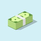 Pile cash stacked hundreds dollars. Dollar paper business finance money. Pile of cash stacked hundreds of dollars in flat style. Dollar paper business finance Stock Images