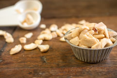 Pile of cashew in the mold with decorated Stock Photography