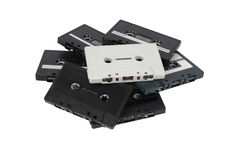 Pile of cassette tapes. A pile of old cassette tapes, isolated on white with path royalty free stock images