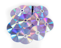 Pile of CDs on white background. Stock Photos