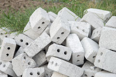 Pile of cement bricks have 2 hole Stock Images