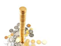 Pile centimétrique de pièces de monnaie Photos stock