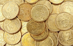 Pile of 20 cents euro coins Stock Images