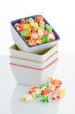Pile of ceramic bowls of popcorn Stock Image