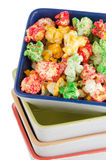 Pile of ceramic bowls of popcorn Royalty Free Stock Photo