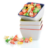 Pile of ceramic bowls of popcorn Royalty Free Stock Image