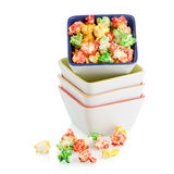 Pile of ceramic bowls of popcorn Stock Photos