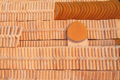 Pile of ceramic roof tile Royalty Free Stock Image