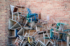 Pile of chairs royalty free stock photography
