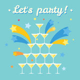 Pile of champagne glasses. Lets party. Lettering. Celebration with firework. Fullcolored flat image. Pile of champagne glasses. Celebration with firework royalty free illustration