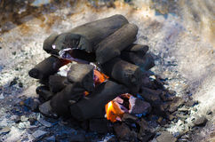 Pile of charcoal Stock Photo
