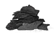 Pile charcoal isolated on white background Royalty Free Stock Photo