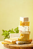 Pile of cheese many various types Royalty Free Stock Images