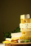 Pile of cheese many various types Stock Photography