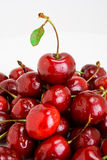 Pile of cherries. A pile of fresh cherries topped with a leafed one Stock Photos