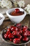 Pile of cherries and chocolate dessert Stock Image