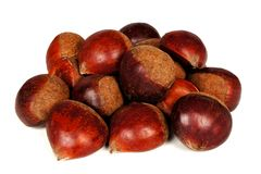 Pile of chestnuts over a white background Royalty Free Stock Photography