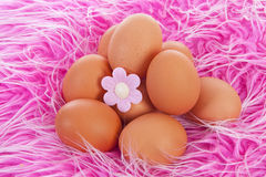 Pile of chicken eggs on pink background Stock Photo