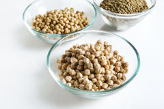 Pile of Chickpeas in bowl and other Legumes Stock Image