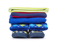 Pile of children's clothes isolated on white. Background royalty free stock photo