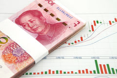 A pile of china yuan with chart Stock Photos