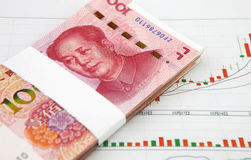 A pile of china yuan with chart Royalty Free Stock Image