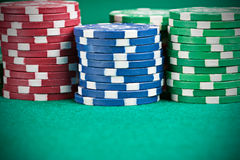 Pile of Chips. Pile of poker chips on a poker table Royalty Free Stock Images