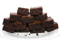 Pile of chocolate brownies Stock Photos