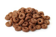 Pile of chocolate cereal rings stock photo