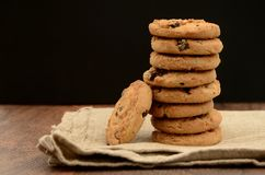 Pile of Chocolate Chip Biscuits on Napkin Royalty Free Stock Image