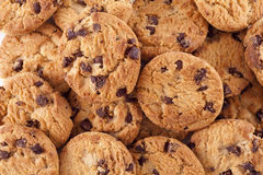 Pile of chocolate chip cookies Royalty Free Stock Images