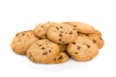 Pile of chocolate chip cookies Royalty Free Stock Photo