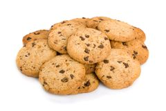 Pile of chocolate chip cookies Stock Image