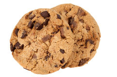 Pile of chocolate chip cookies isolated Stock Image