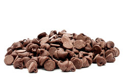A pile of chocolate chips Royalty Free Stock Photos