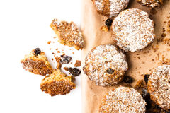 Pile of chocolate chips small cookies on brown paper parchament Stock Images