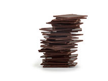 Pile of Chocolate chunks  on white background. Royalty Free Stock Image