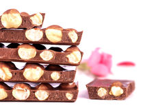 Pile of chocolate chunks with nuts and a rose Royalty Free Stock Photos