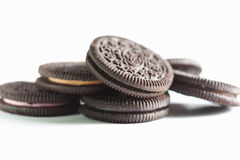 Pile of chocolate cookie with cream Stock Photography