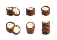 Pile of chocolate cookies isolated Royalty Free Stock Photography