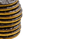 Pile chocolate covered digestive biscuits. Royalty Free Stock Photography