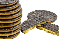 Pile chocolate covered digestive biscuits. Royalty Free Stock Photo