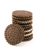Pile of chocolate cream cookies isolated on white. Background Royalty Free Stock Image