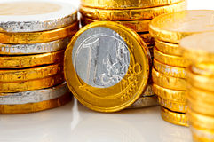 Pile of chocolate Euro money Royalty Free Stock Photo