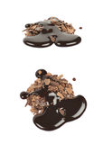 Pile of chocolate flakes isolated Stock Images