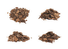 Pile of chocolate flakes isolated Royalty Free Stock Photo