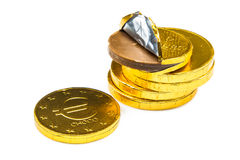 Pile of chocolate money Royalty Free Stock Image
