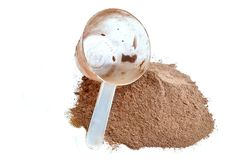 Pile of chocolate protein shake and scoop. Isolated on white background Stock Image