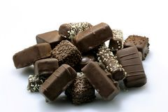 Pile of Chocolate Sweetmeats. Isolated on white background Stock Image