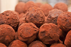 A pile of chocolate truffles Royalty Free Stock Images